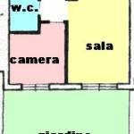 Zona residenziale grande 2 locali con giardino. a  per
